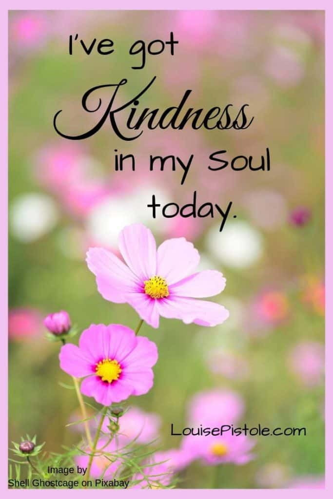 Pink flowers with I've got Kindness in my soul today